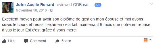 Commentaire facebook des cours de gestion de base de GDBase